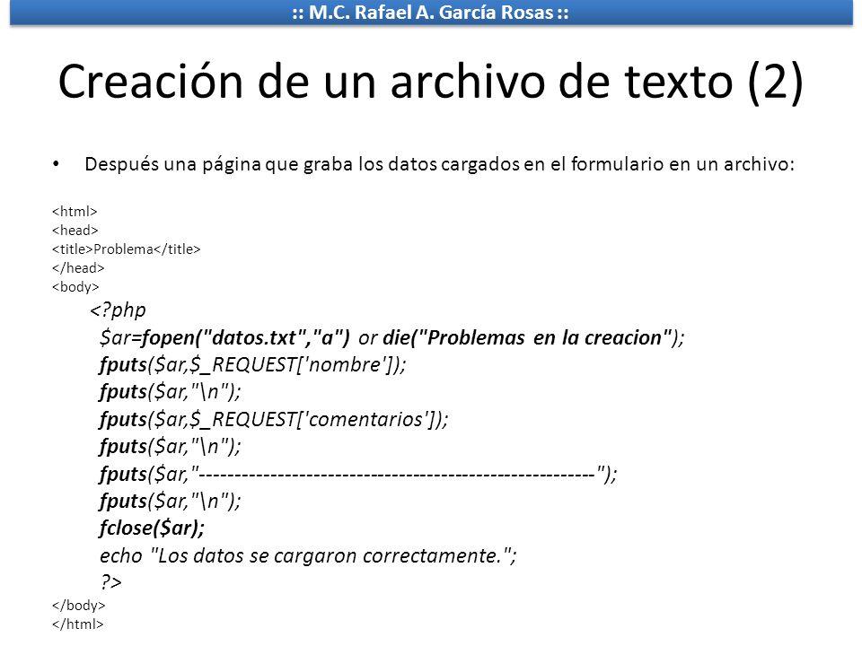 Creación de un archivo de texto (2)