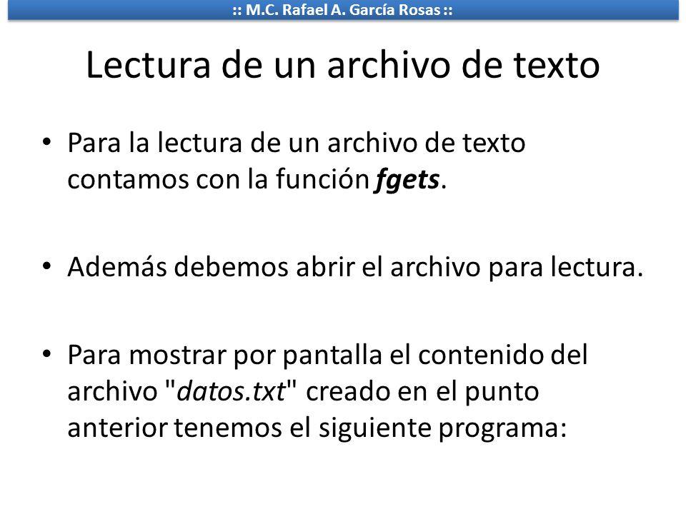 Lectura de un archivo de texto