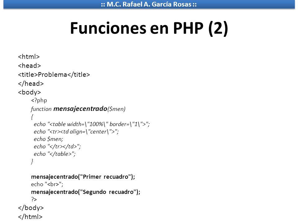 Funciones en PHP (2) <html> <head>
