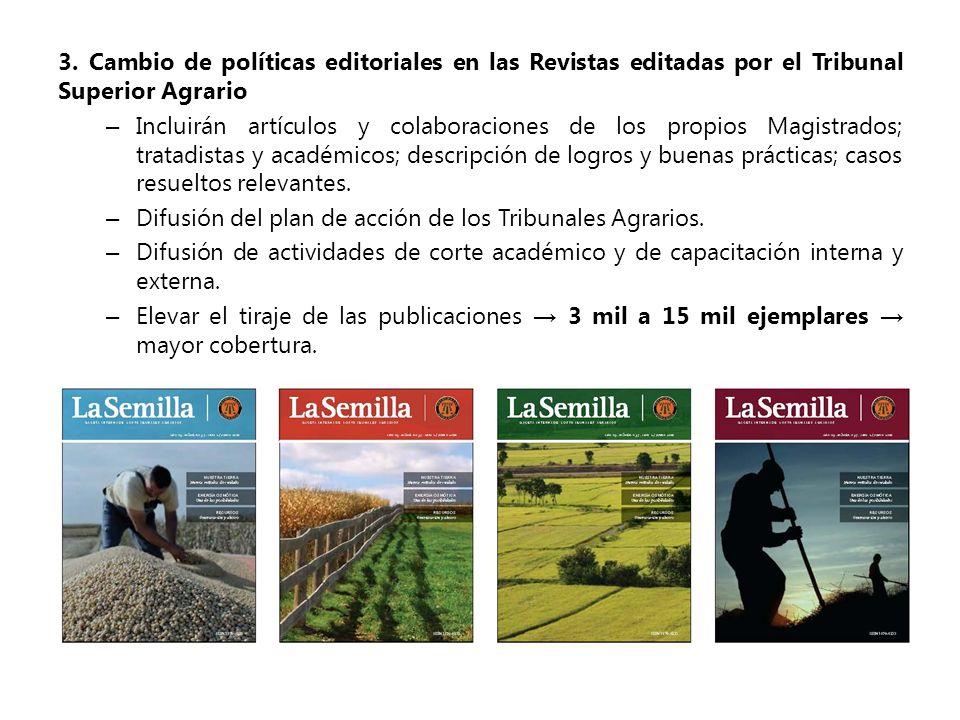 3. Cambio de políticas editoriales en las Revistas editadas por el Tribunal Superior Agrario