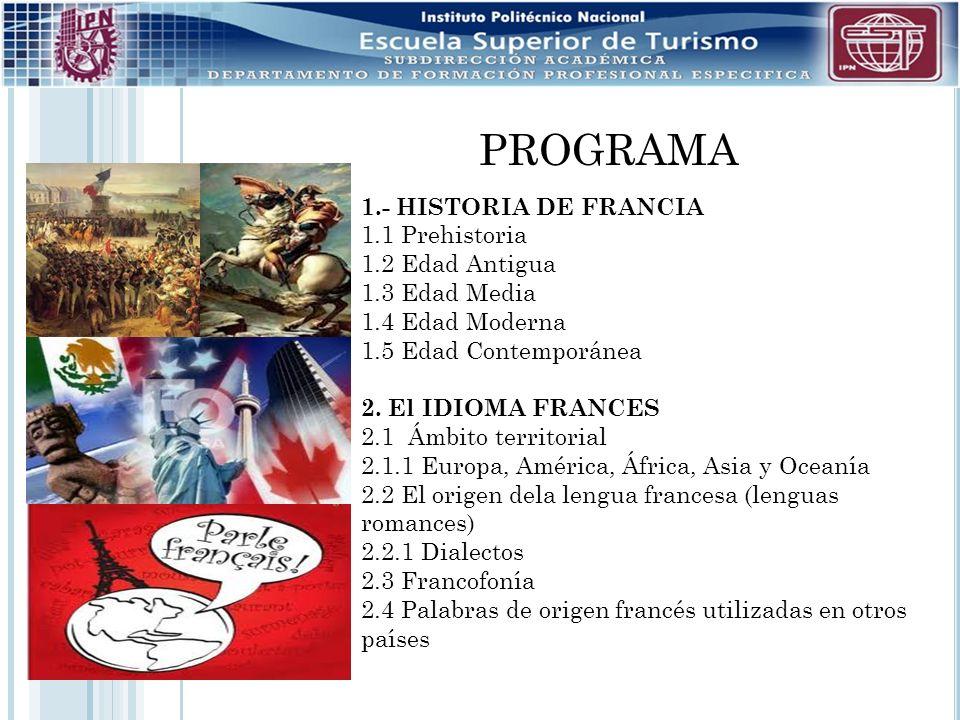 PROGRAMA 1.- HISTORIA DE FRANCIA 1.1 Prehistoria 1.2 Edad Antigua