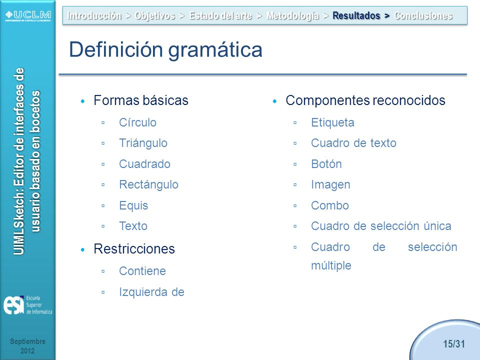 Definición gramática Formas básicas Componentes reconocidos