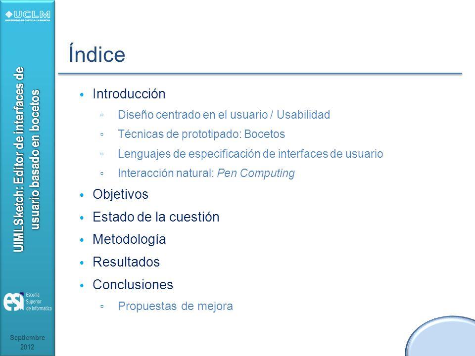 Índice Introducción Objetivos Estado de la cuestión Metodología