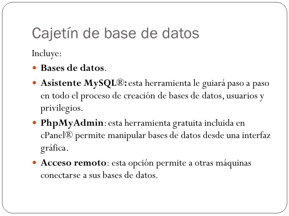 Cajetín de base de datos