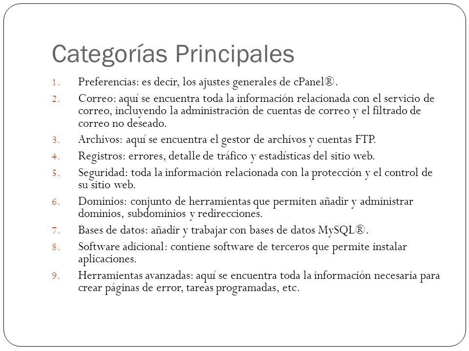 Categorías Principales