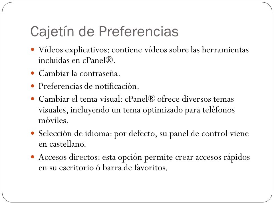 Cajetín de Preferencias