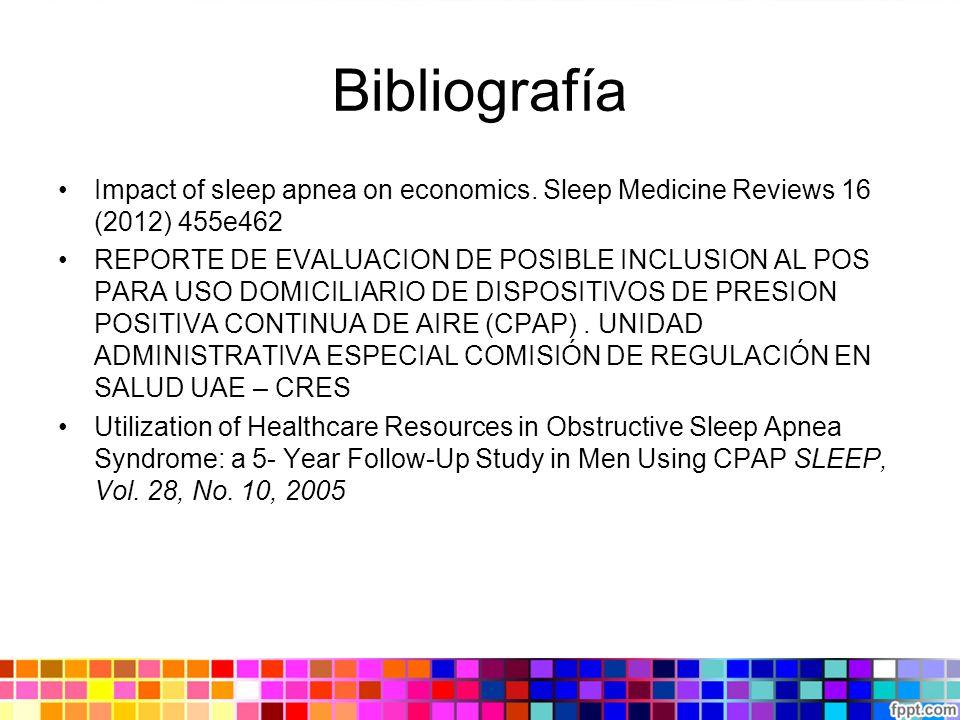 Bibliografía Impact of sleep apnea on economics. Sleep Medicine Reviews 16 (2012) 455e462.