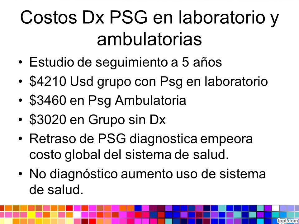 Costos Dx PSG en laboratorio y ambulatorias