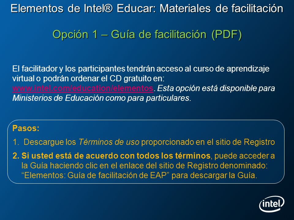 Elementos de Intel® Educar: Materiales de facilitación