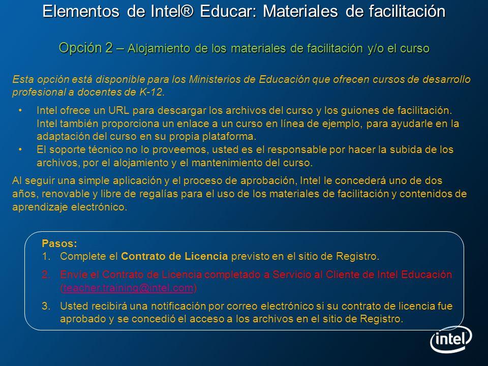 Elementos de Intel® Educar: Materiales de facilitación Opción 2 – Alojamiento de los materiales de facilitación y/o el curso