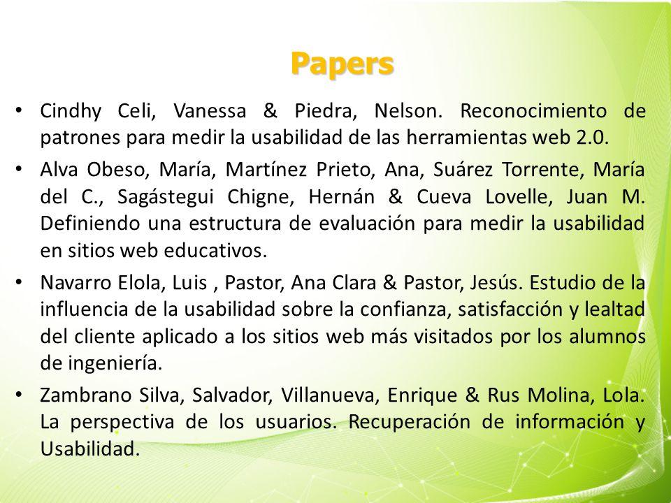 Papers Cindhy Celi, Vanessa & Piedra, Nelson. Reconocimiento de patrones para medir la usabilidad de las herramientas web 2.0.