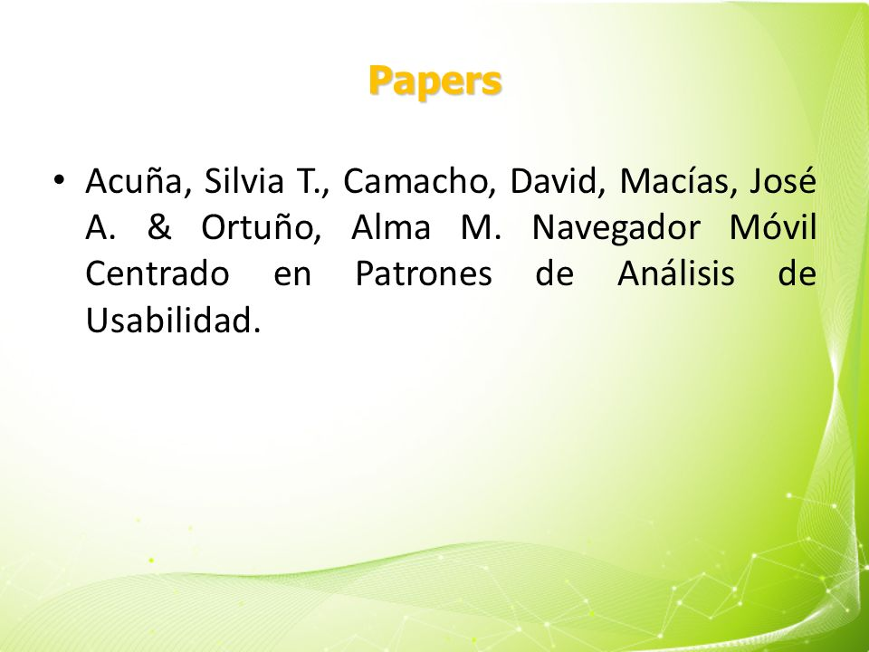 Papers Acuña, Silvia T., Camacho, David, Macías, José A.