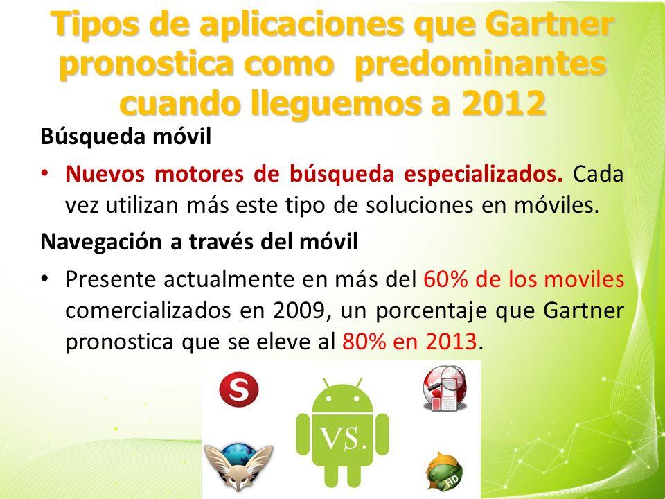 Tipos de aplicaciones que Gartner pronostica como predominantes cuando lleguemos a 2012