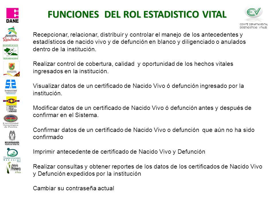 FUNCIONES DEL ROL ESTADISTICO VITAL