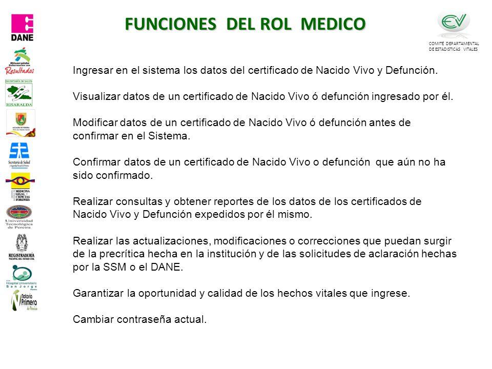 FUNCIONES DEL ROL MEDICO