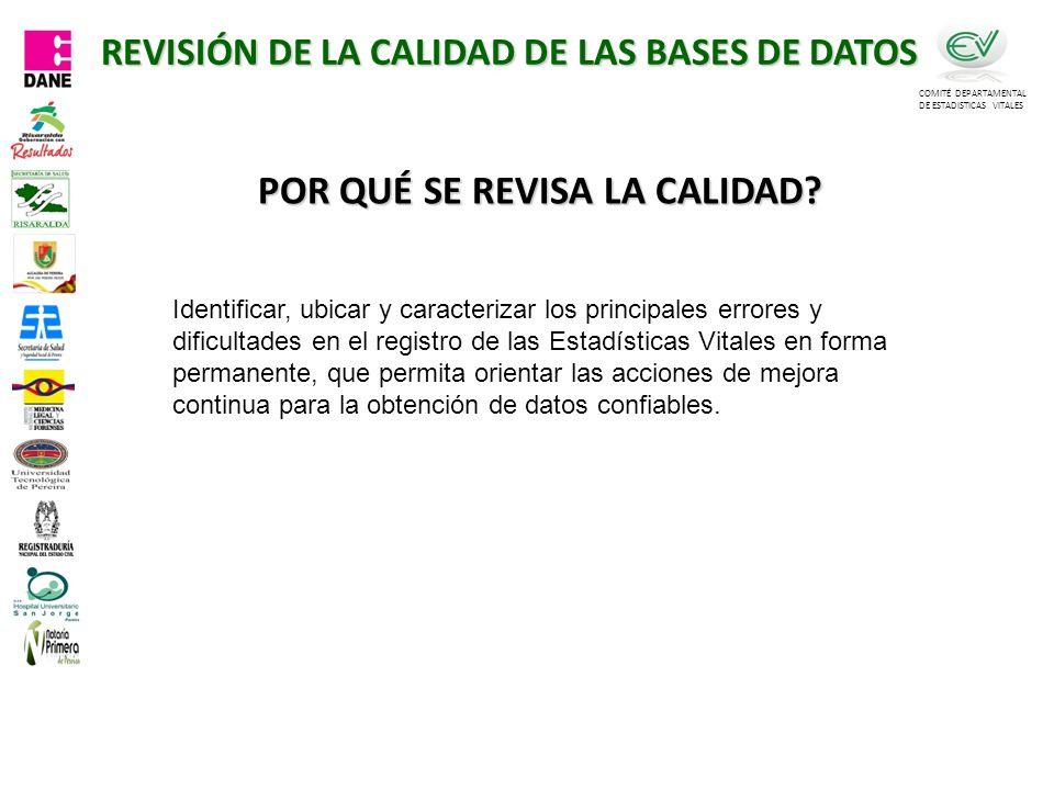 REVISIÓN DE LA CALIDAD DE LAS BASES DE DATOS
