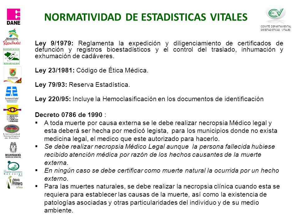 NORMATIVIDAD DE ESTADISTICAS VITALES