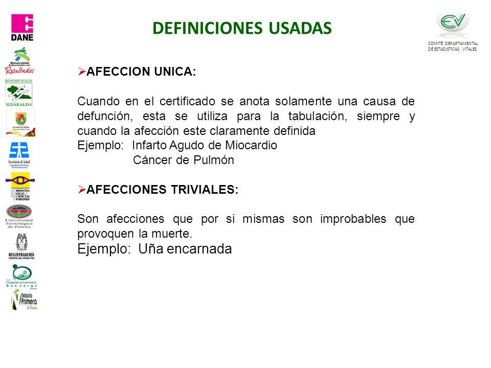 DEFINICIONES USADAS Ejemplo: Uña encarnada AFECCION UNICA: