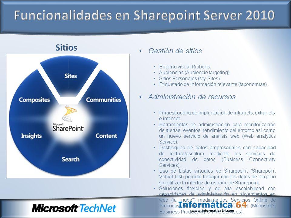 Funcionalidades en Sharepoint Server 2010