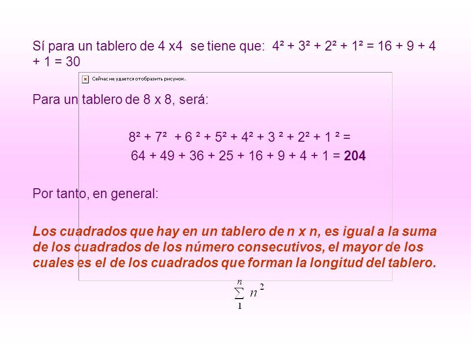 Sí para un tablero de 4 x4 se tiene que: 4² + 3² + 2² + 1² = 16 + 9 + 4 + 1 = 30