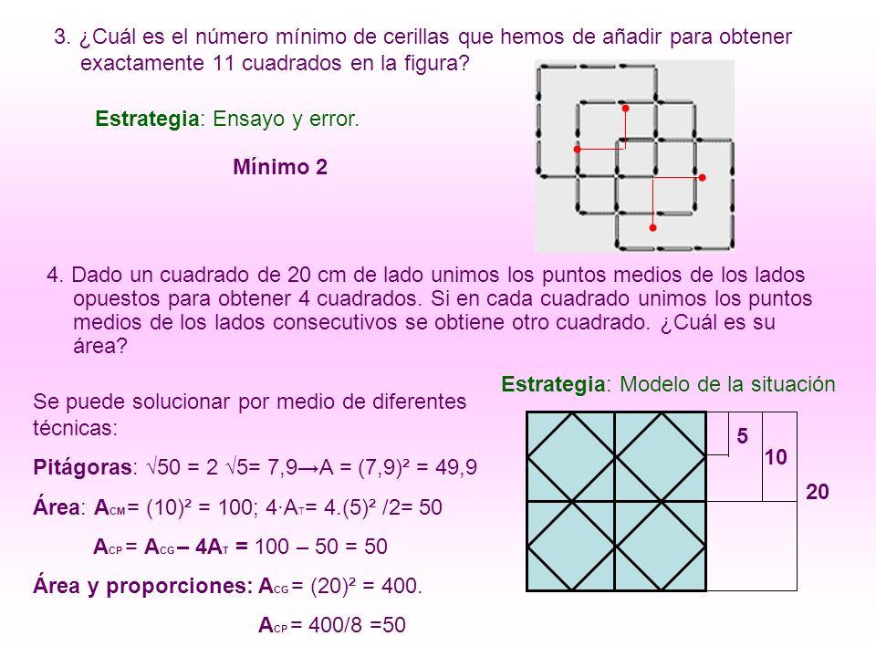 3. ¿Cuál es el número mínimo de cerillas que hemos de añadir para obtener exactamente 11 cuadrados en la figura