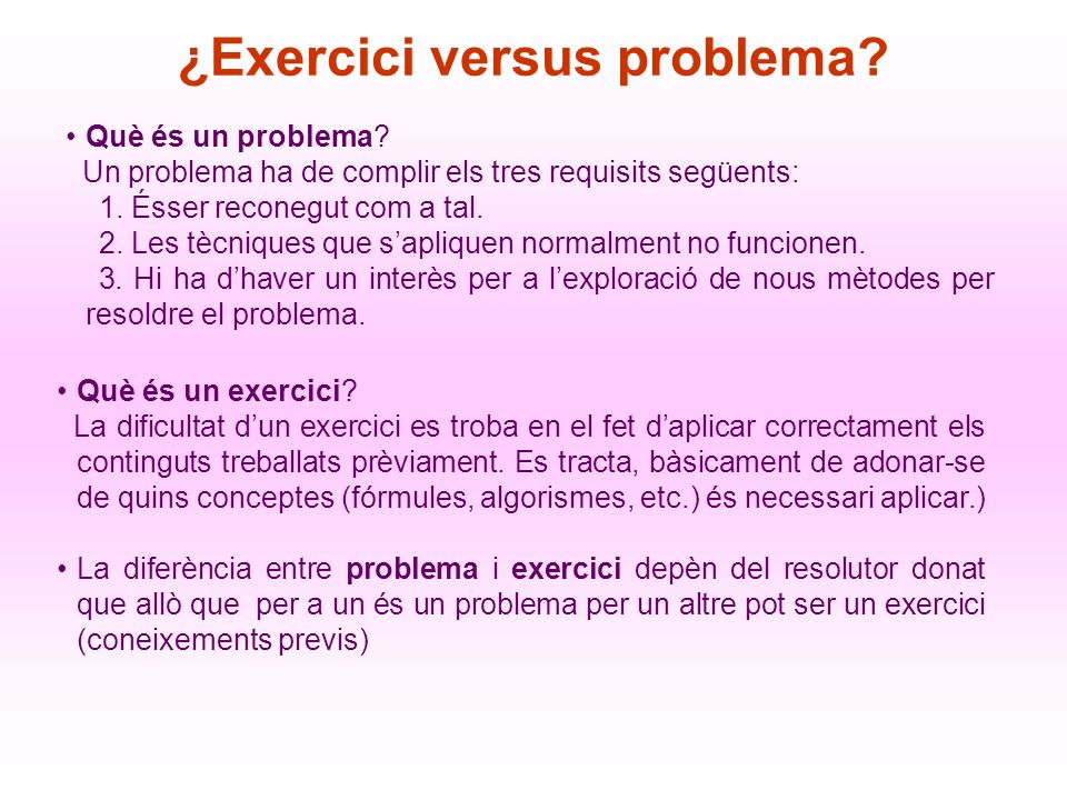 ¿Exercici versus problema