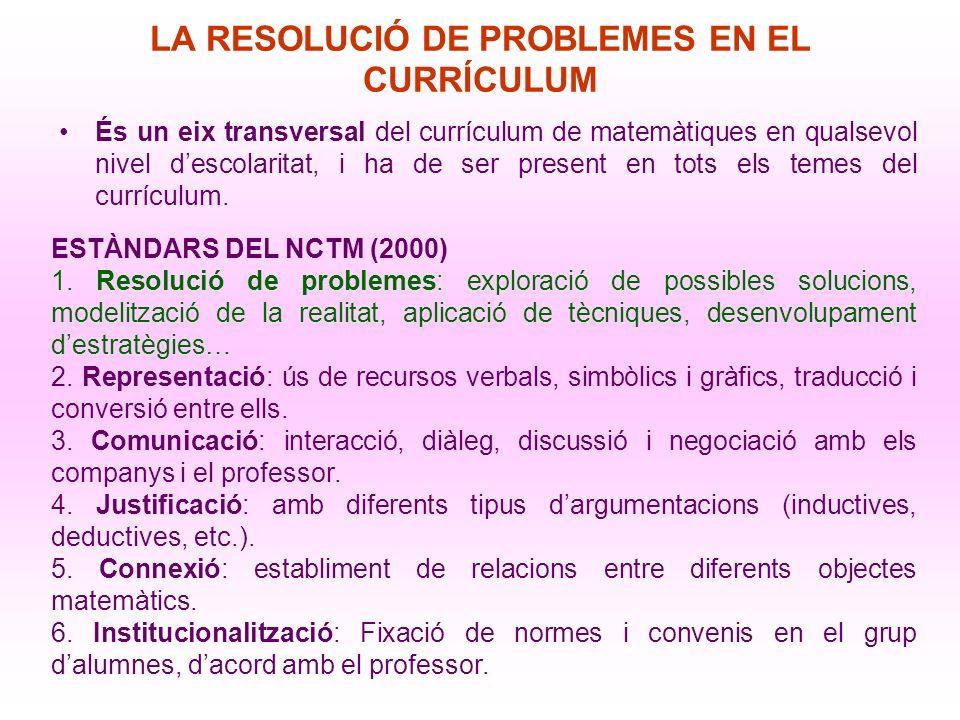 LA RESOLUCIÓ DE PROBLEMES EN EL CURRÍCULUM