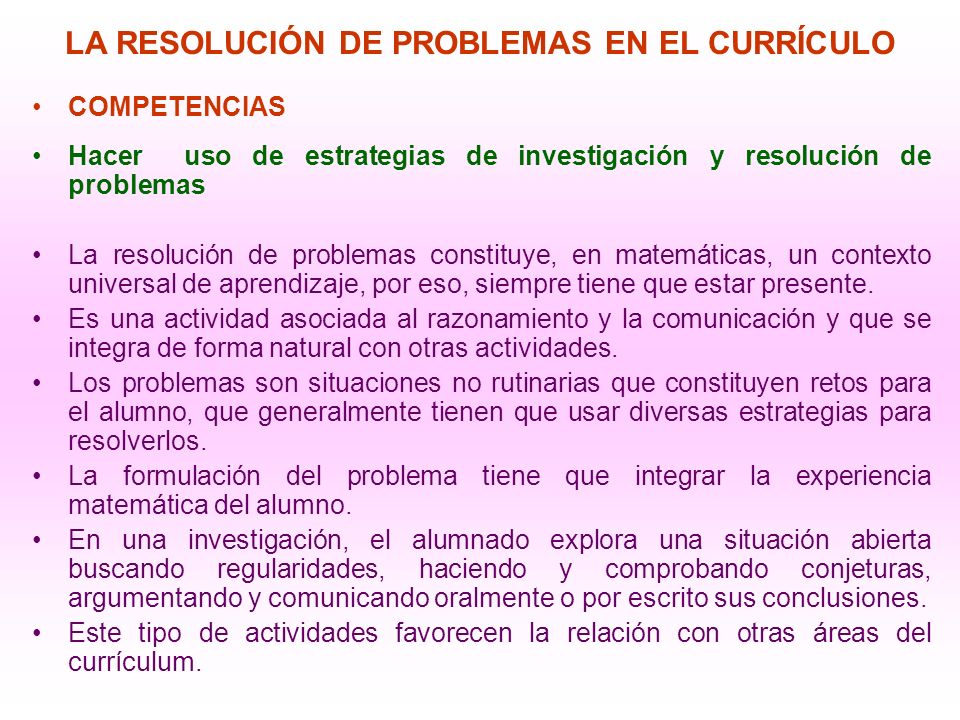 LA RESOLUCIÓN DE PROBLEMAS EN EL CURRÍCULO