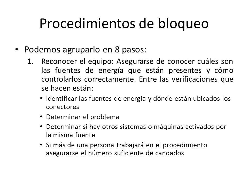Procedimientos de bloqueo