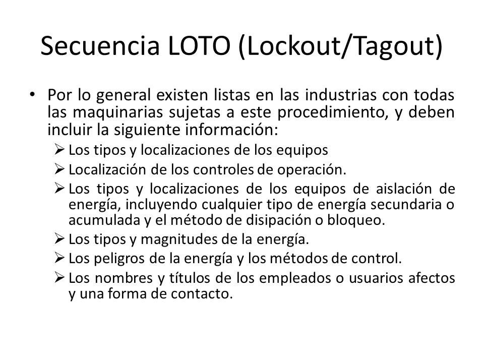 Secuencia LOTO (Lockout/Tagout)