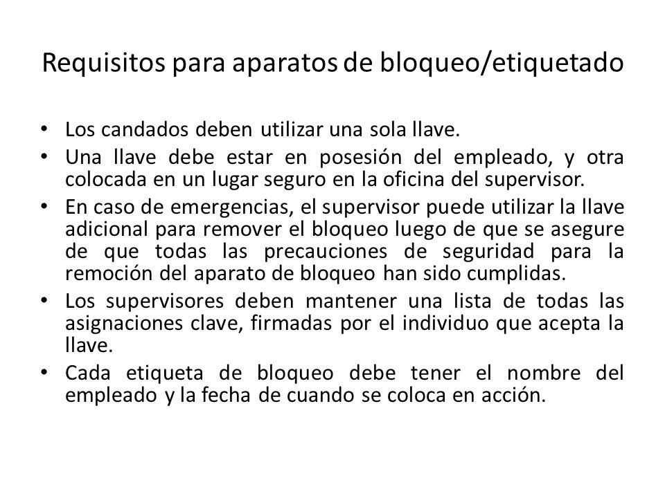 Requisitos para aparatos de bloqueo/etiquetado