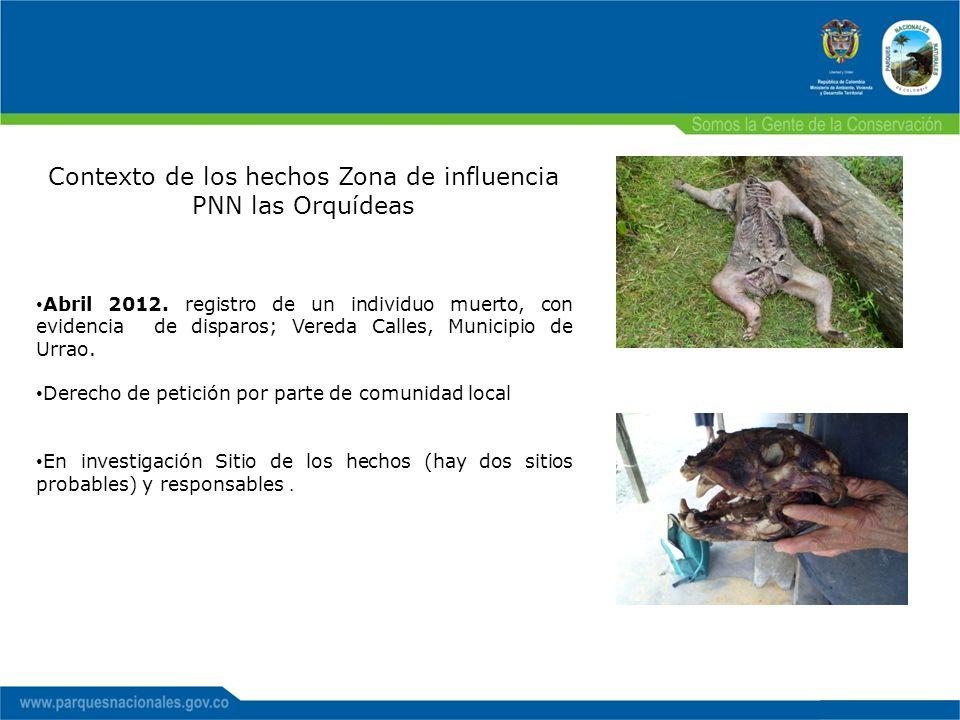 Contexto de los hechos Zona de influencia PNN las Orquídeas