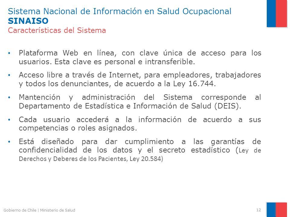 Sistema Nacional de Información en Salud Ocupacional SINAISO Características del Sistema