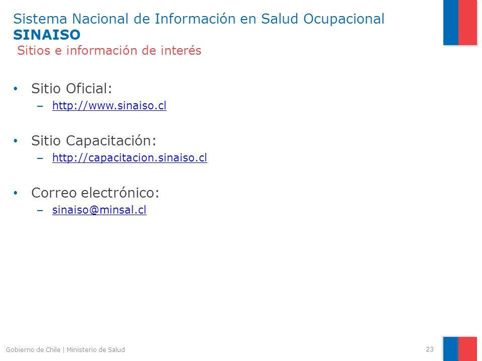 Sistema Nacional de Información en Salud Ocupacional SINAISO Sitios e información de interés