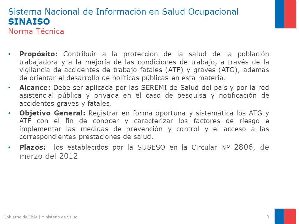 Sistema Nacional de Información en Salud Ocupacional SINAISO Norma Técnica