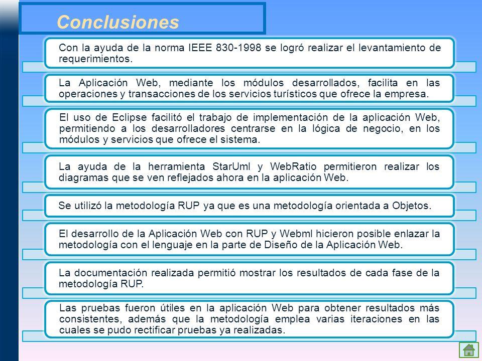 Conclusiones Con la ayuda de la norma IEEE 830-1998 se logró realizar el levantamiento de requerimientos.