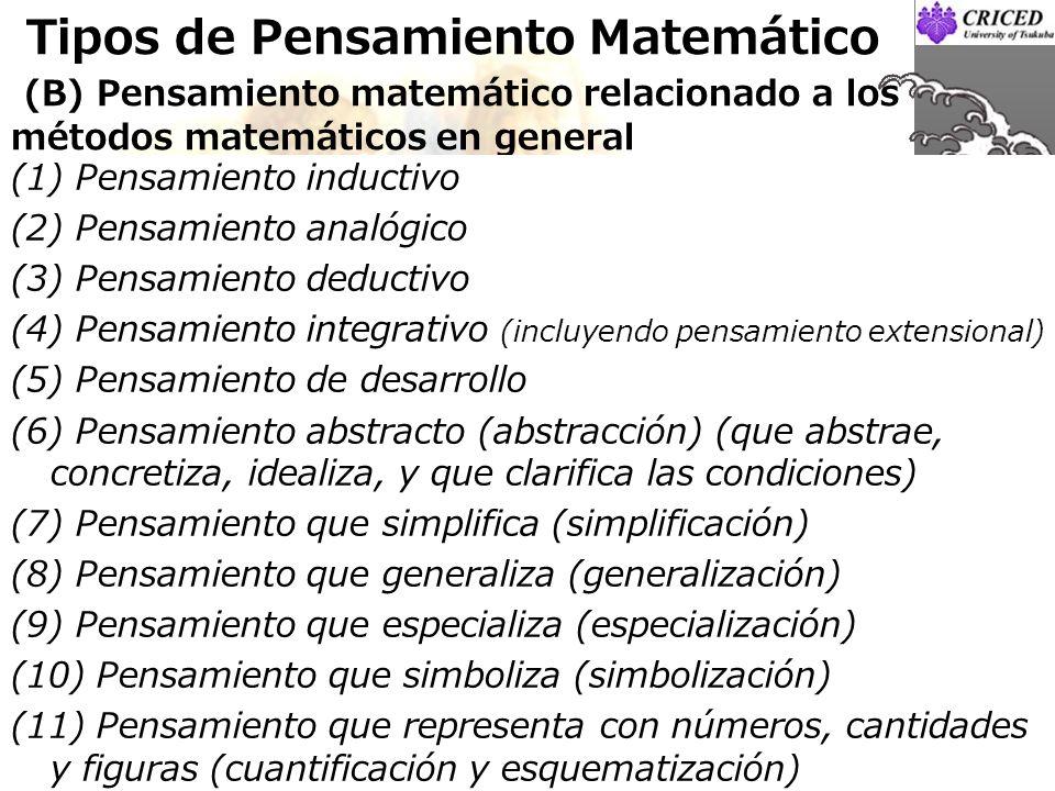 Tipos de Pensamiento Matemático (B) Pensamiento matemático relacionado a los métodos matemáticos en general