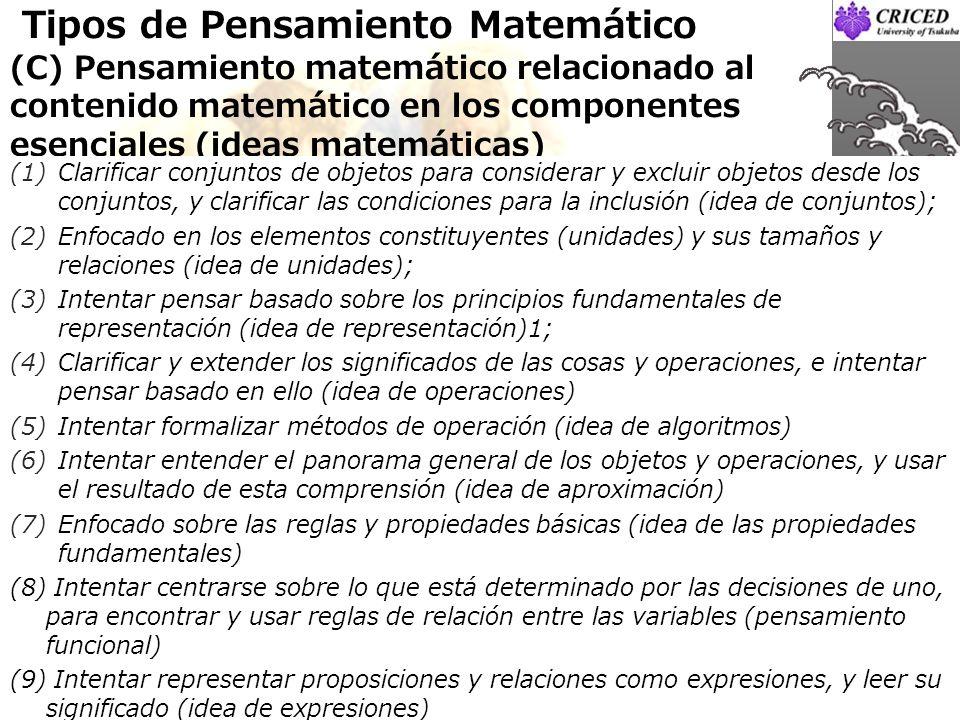 Tipos de Pensamiento Matemático (C) Pensamiento matemático relacionado al contenido matemático en los componentes esenciales (ideas matemáticas)