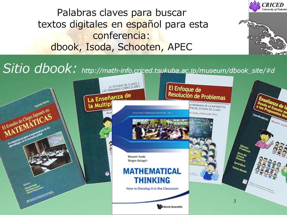 Palabras claves para buscar textos digitales en español para esta conferencia: dbook, Isoda, Schooten, APEC