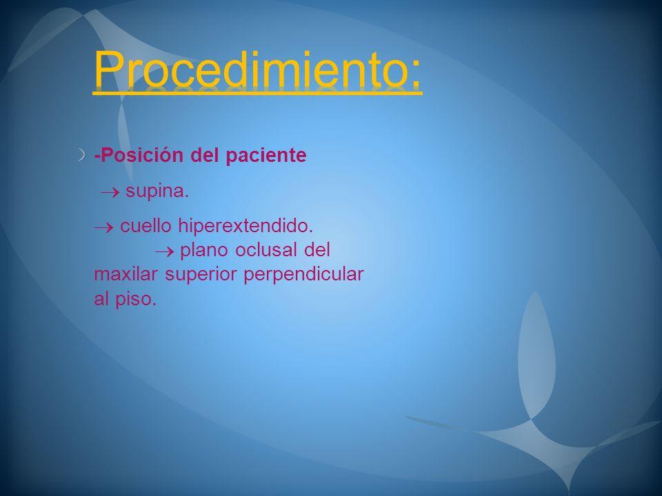 Procedimiento: -Posición del paciente  supina.