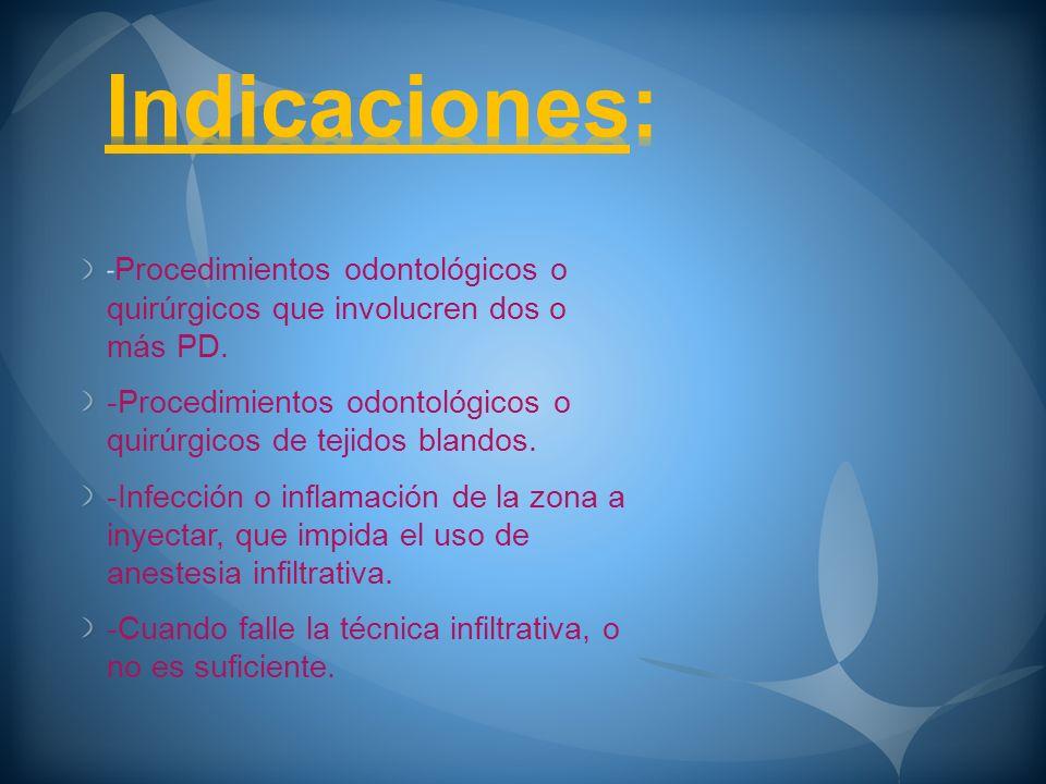 Indicaciones:-Procedimientos odontológicos o quirúrgicos que involucren dos o más PD.