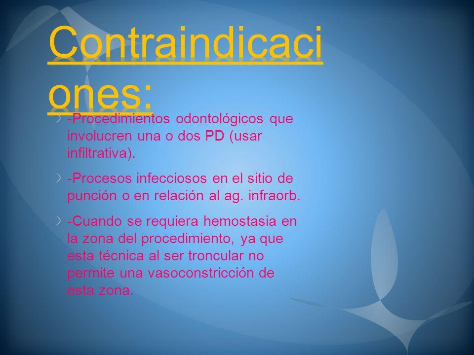 Contraindicaciones: -Procedimientos odontológicos que involucren una o dos PD (usar infiltrativa).