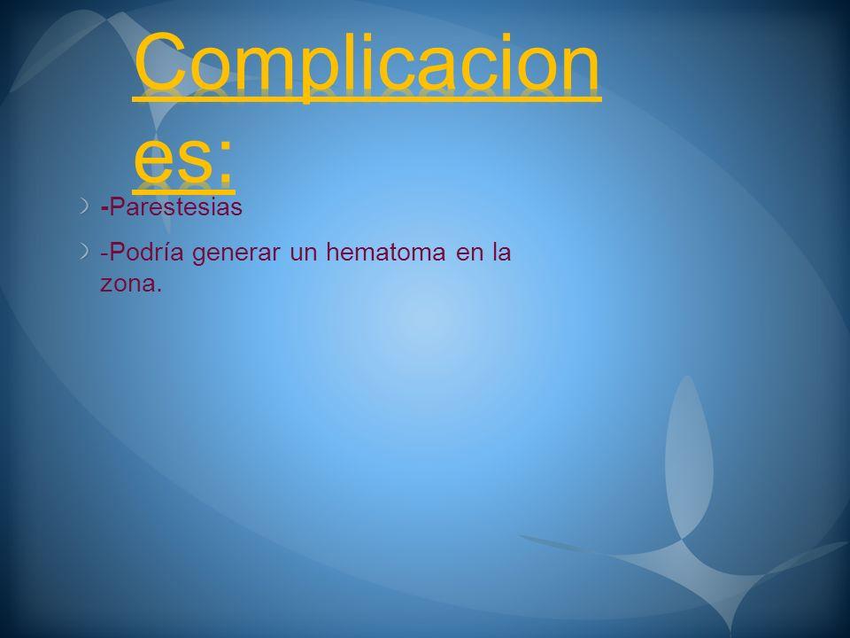 Complicaciones: -Parestesias -Podría generar un hematoma en la zona.