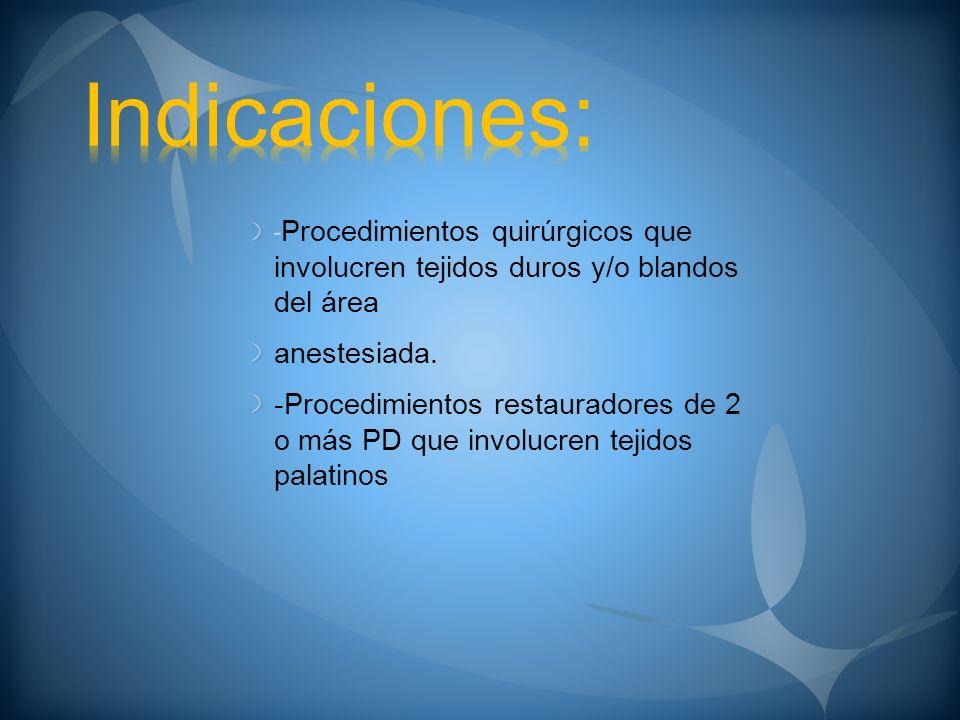 Indicaciones:-Procedimientos quirúrgicos que involucren tejidos duros y/o blandos del área. anestesiada.