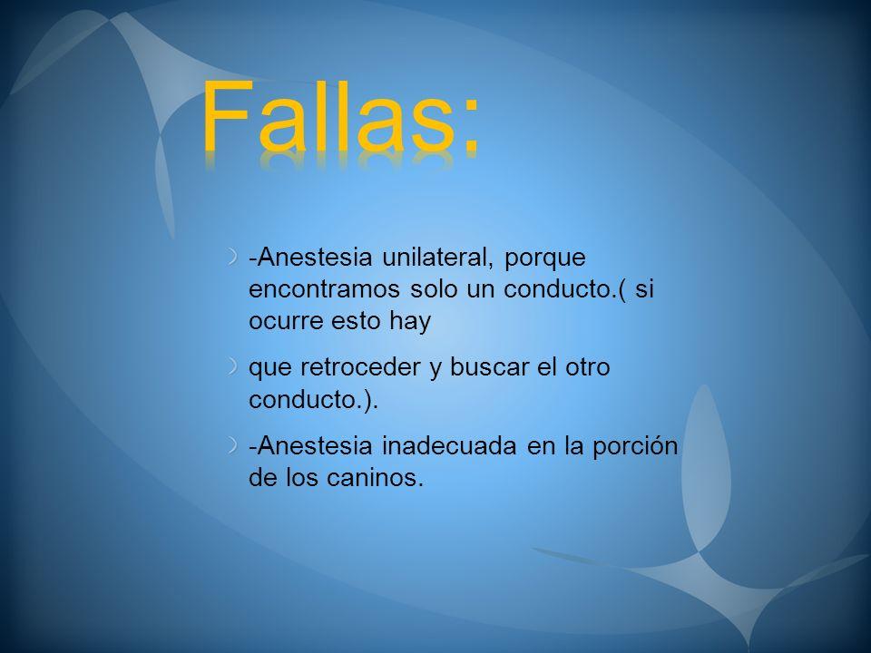 Fallas: -Anestesia unilateral, porque encontramos solo un conducto.( si ocurre esto hay. que retroceder y buscar el otro conducto.).