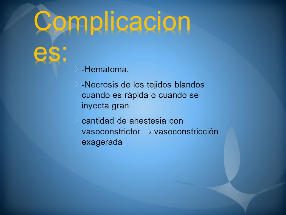 Complicaciones: -Hematoma.