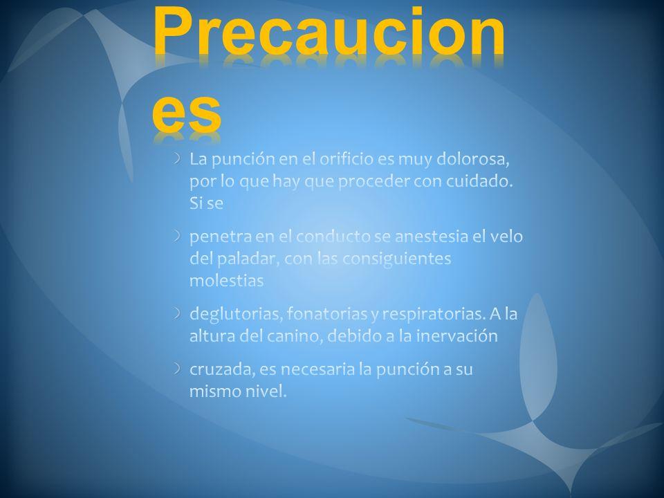 Precauciones La punción en el orificio es muy dolorosa, por lo que hay que proceder con cuidado. Si se.