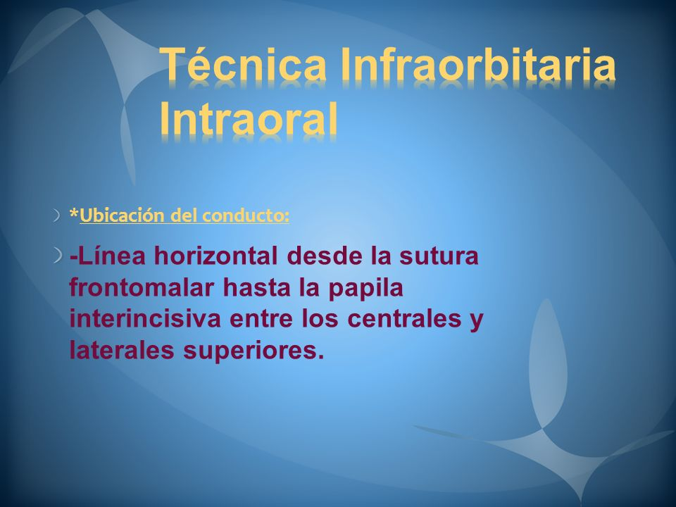 Técnica Infraorbitaria Intraoral