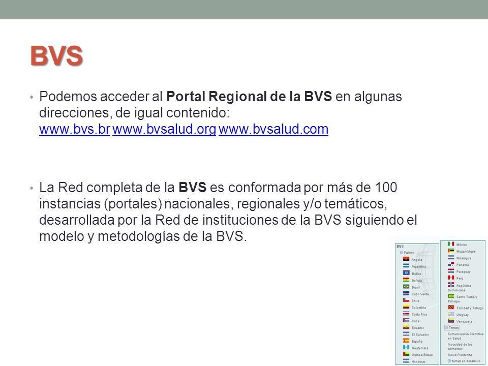 BVS Podemos acceder al Portal Regional de la BVS en algunas direcciones, de igual contenido: www.bvs.br www.bvsalud.org www.bvsalud.com.