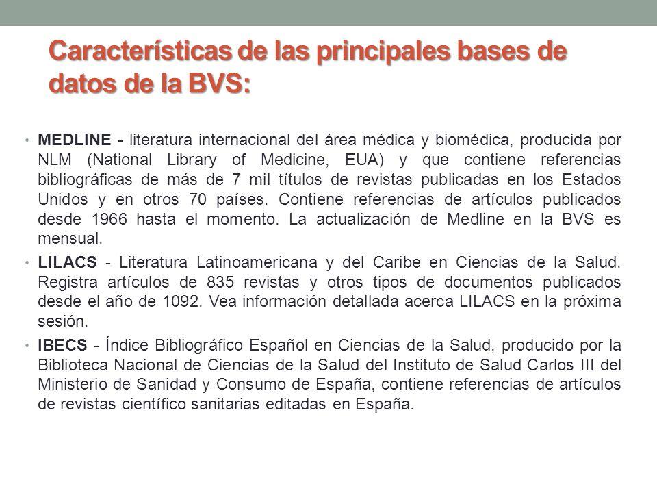 Características de las principales bases de datos de la BVS: